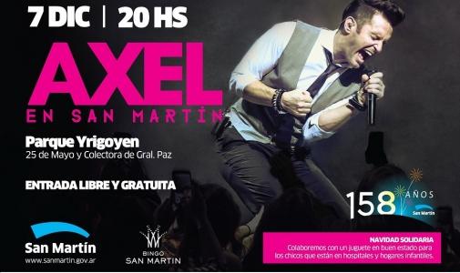 Axel vuelve a San Martín para festejar los 158 años de la ciudad